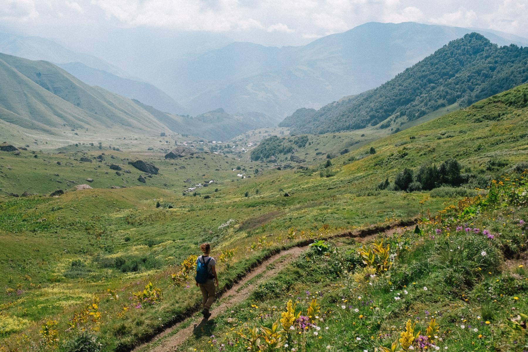 Sabina hiking back to Roshka guesthouse